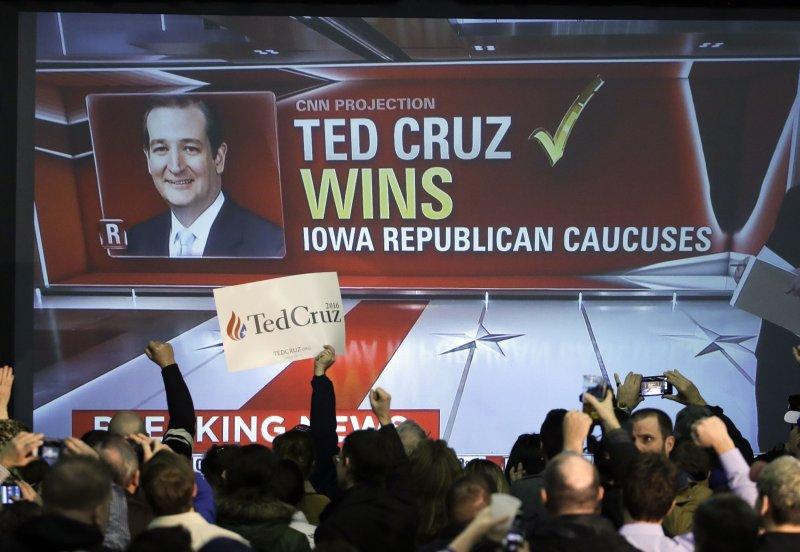 美國愛荷華州1日晚間進行兩黨黨員初選,共和黨由德州聯邦參議員克魯茲勝出。(美聯社)