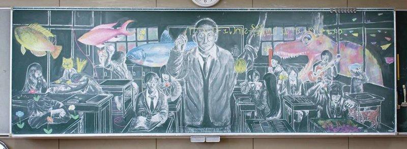 埼玉縣大宮光陵高中學生的作品,描繪出美好的上課時光。(翻攝活動網站)