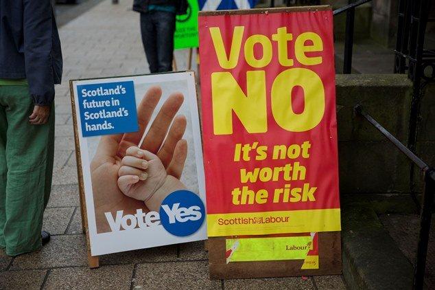 蘇格蘭獨立公投雙方宣傳(美聯社)