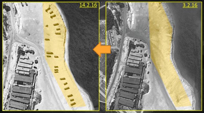 中國在西沙群島的永興島(Woody Island)部署飛彈,此為2月14日(左)與2月3日(右)的衛星空拍比較圖。(美聯社)