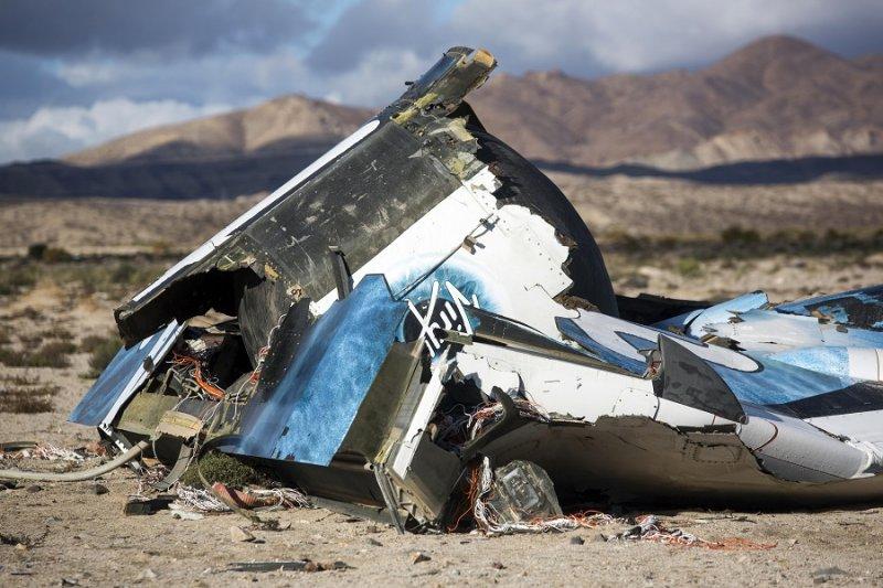 2014年維珍銀河公司「太空船2號」(SS2)墜毀的部分殘骸(美聯社)