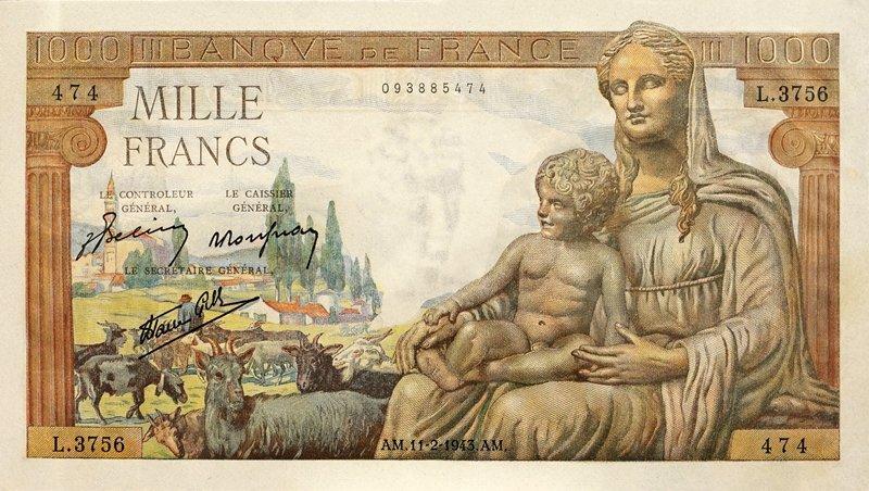 法國1943年發行1000法郎,以傳說時代的人物作為圖樣。(圖/天下文化提供)