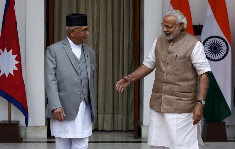 尼泊爾總理歐立訪印,與印度總理莫迪會面。(來源:thehimalayantimes.com)