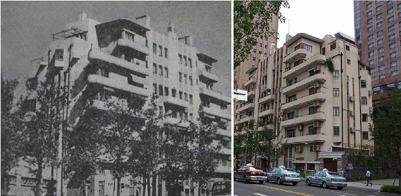 1940年上海愛丁頓公寓原貌(左),右圖為常德路常德公寓,張愛玲就住在左邊六樓。(作者提供)