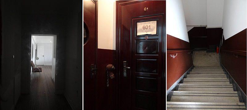 常德公寓605室(左)與對門的601室(右),還有張愛玲走過千百回的樓梯間(右)。(作者提供)