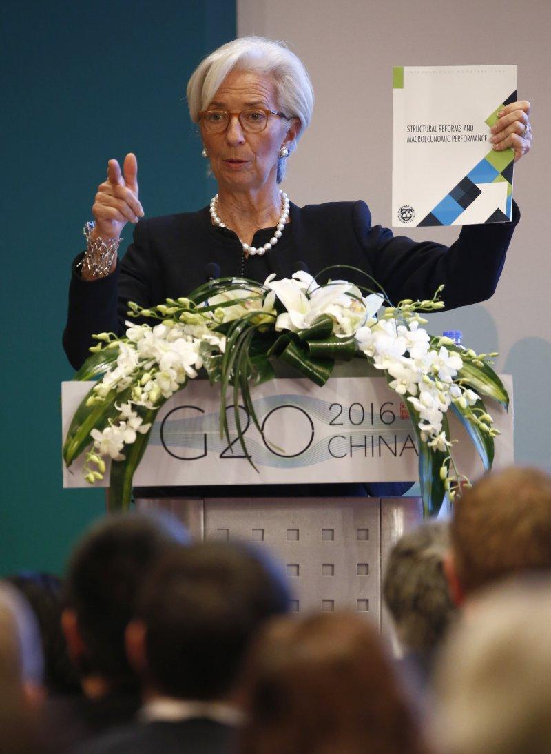 IMF總裁拉加德在上海G20發言。(美聯社)