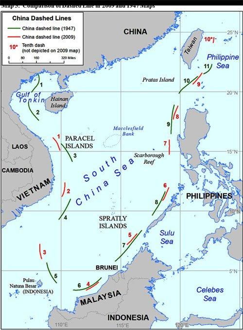 綠色為1947年中華民國宣布的11段線,紅色為2009中國宣布的9段線線。(取自萬維博客)