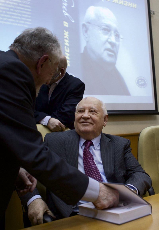 戈巴契夫2月29日出席新書發表會。(美聯社)