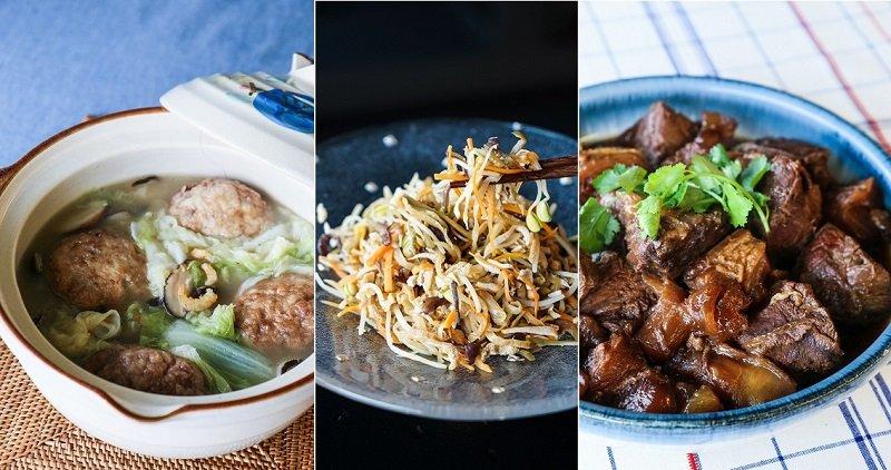 《國宴與家宴》經典口味版收錄的五道菜之三,從左到右:白菜獅子頭、如意菜、紅燒牛肉。(攝影:高琹雯/新經典提供)