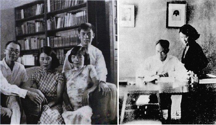 左起:梁宗岱、沈櫻、王慕理與馬思聰(左)。沈櫻與梁宗岱的婚姻維持不到十年,梁宗岱又戀上粵劇名伶甘少蘇,圖為沈櫻與梁在日本期間。(右)