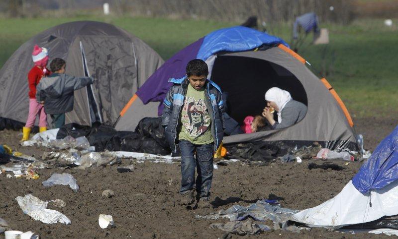 馬其頓邊界的難民營(美聯社)