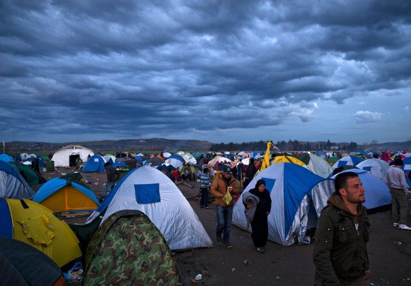 希臘邊界的難民營(美聯社)