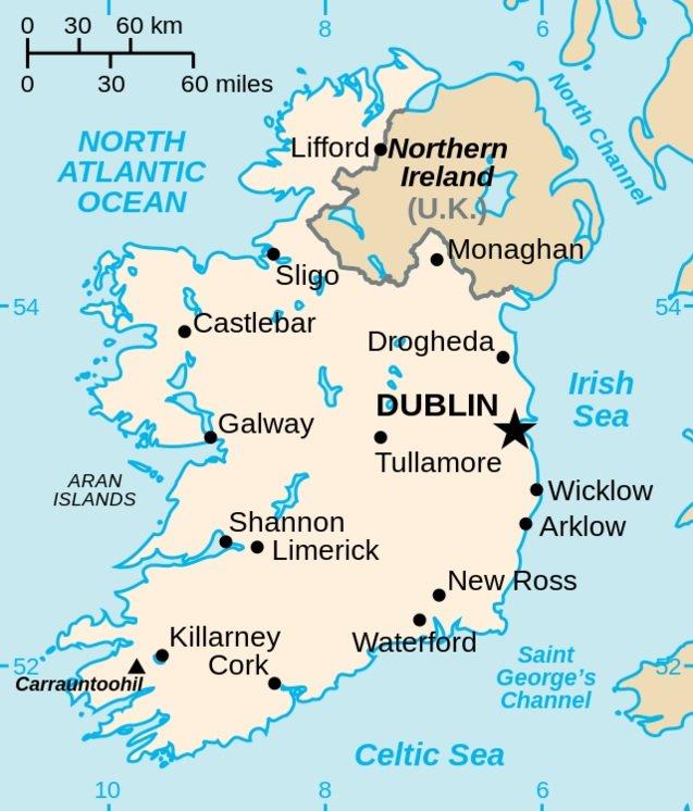 愛爾蘭島地圖(維基百科)