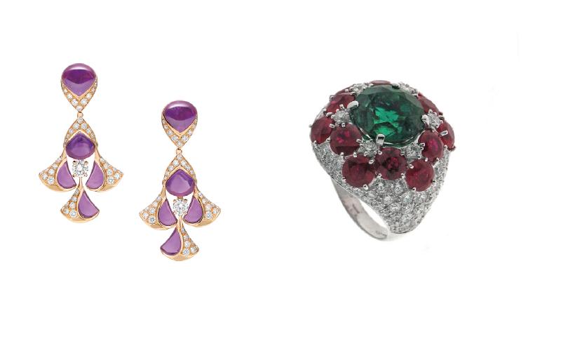 BVLGARI寶格麗頂級珠寶耳環及戒指,採取罕見的明亮配色方式。(圖/BVLGARI寶格麗提供)