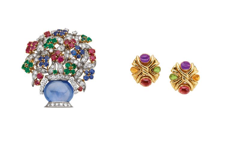 1988年古董珠寶胸針及耳環,彰顯彩寶之美的精緻車工與鑲嵌工藝。(圖/BVLGARI寶格麗提供)