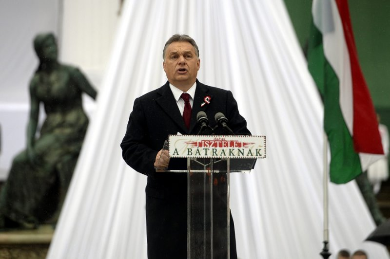 匈牙利總理奧爾班發表演說(美聯社)