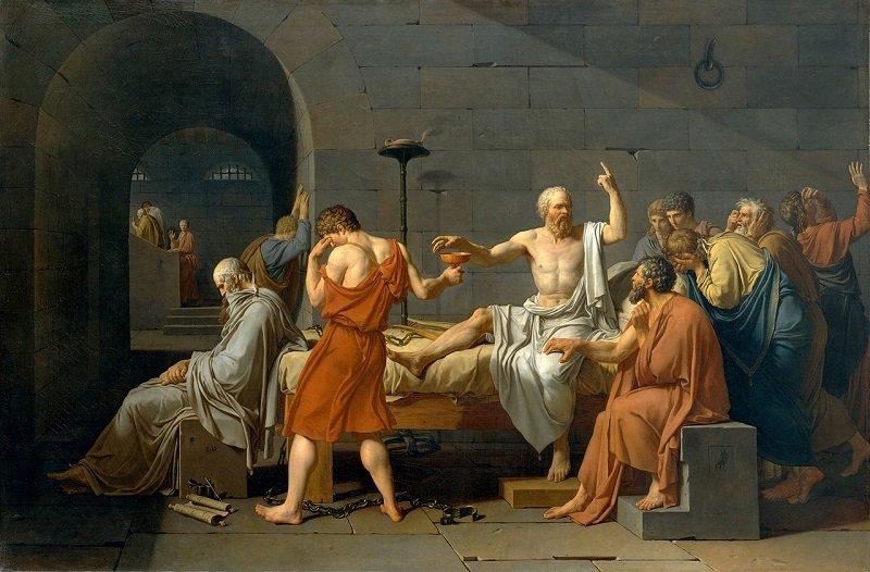 《蘇格拉底之死》,由雅克·路易·大衛所繪(1787年)。(維基百科)