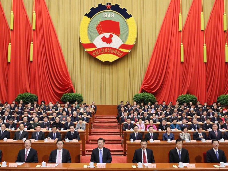 3月14日,中國人民政治協商會議第十二屆全國委員會第四次會議在北京閉幕。習近平、李克強、張德江、劉雲山、王岐山、張高麗等在主席臺就座。(新華社)