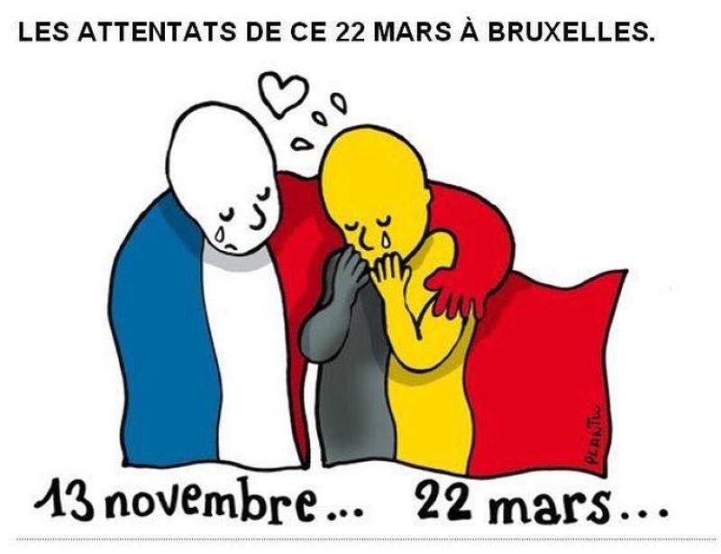 20160323-歐盟針對比利時布魯塞爾恐怖攻擊發表聯合聲明,法國在台協會也換上臉書大頭圖像,圖上繪有披著法國國旗的人偶,撫肩安慰披著比利時國旗的人偶。(取自法國在台協會臉書)