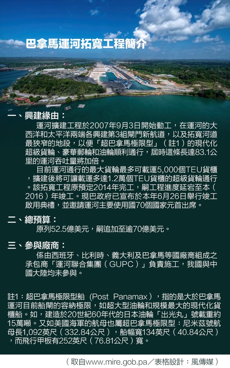 巴拿馬運河拓寬工程簡介(取自www.mire.gob.pa/表格設計:風傳媒)