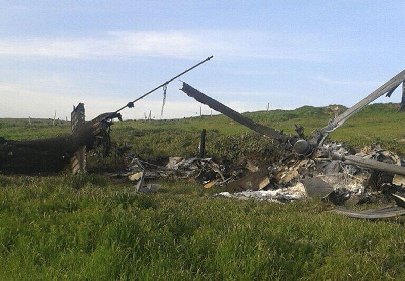 亞塞拜然所屬的Mi-24直升機遭擊落。(美聯社)