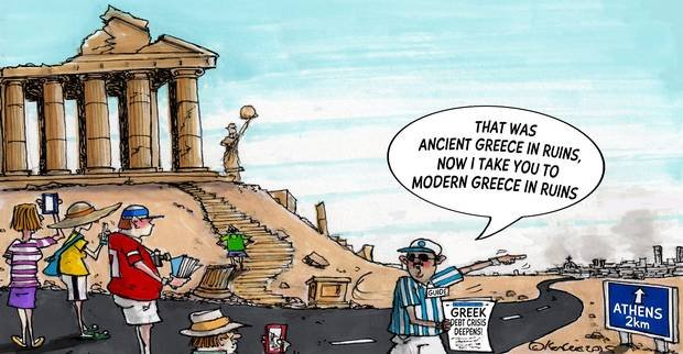導游對遊客說,「那是古希臘的廢墟,現在帶你們去看現代希臘廢墟。」諷刺希臘經濟凋蔽。 (www.independent.ie)