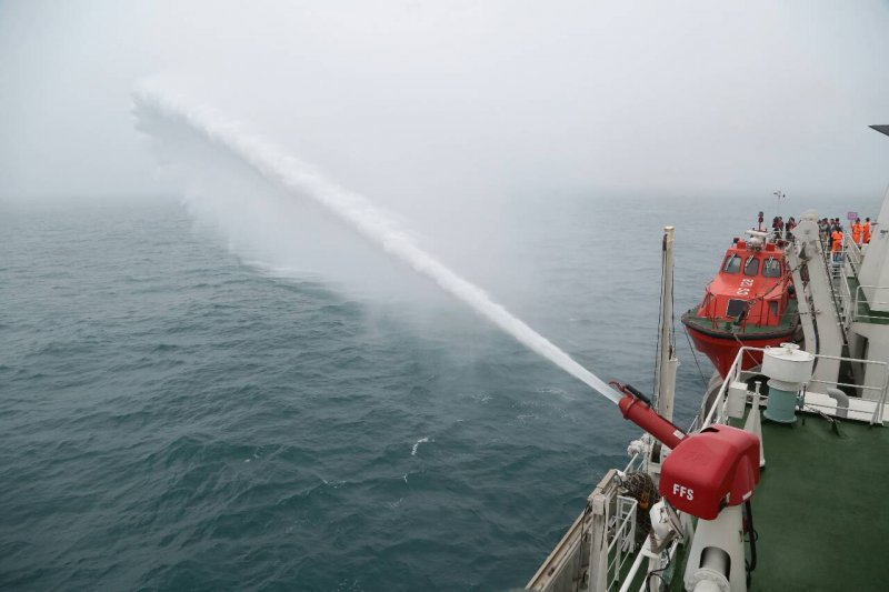 總統馬英九9日前往彭佳嶼,海巡署宜蘭艦(顏麟宇攝)