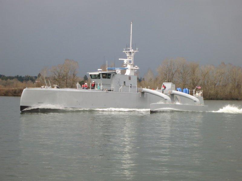 美國海軍專門獵殺潛艦的自主航行無人艦艇「海獵號」(Sea Hunter)(DARPA)
