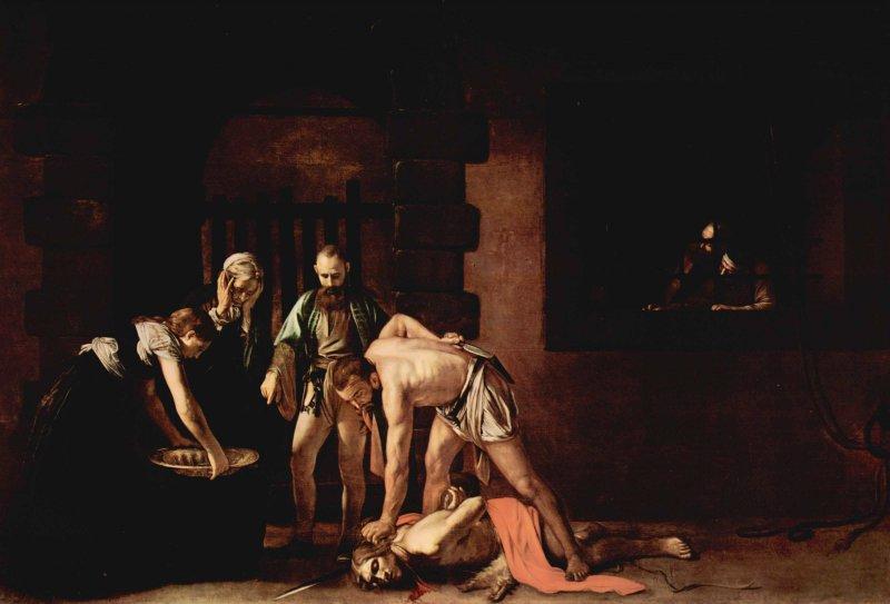 卡拉瓦喬-《被斬首的施洗者約翰》(The Decapitation of Saint John the Baptist,1607)。(取自網路)