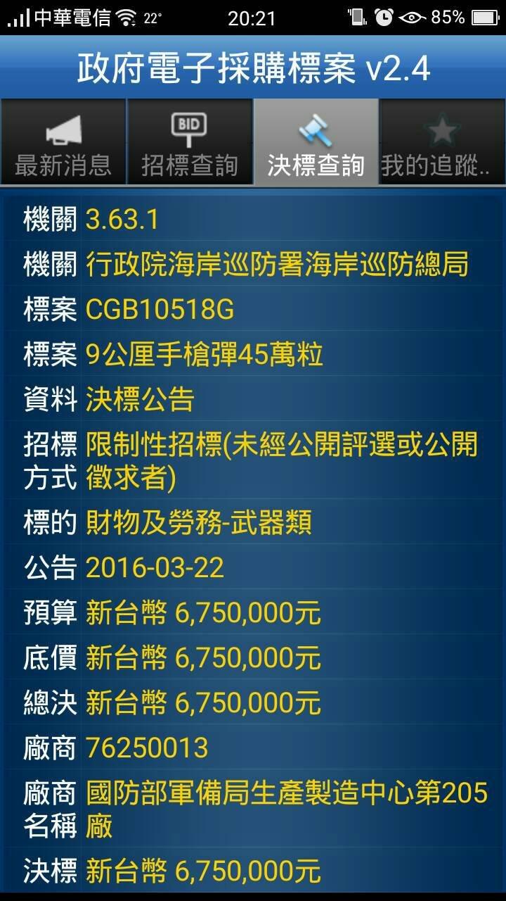 20160418-SMG0045-011-海巡署採購9公厘子彈-政府電子採購網