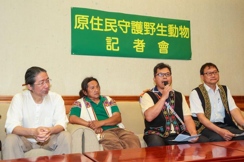 馬蘭部落Hokira(羅福慶)副祭司於「原住民團體守護野生動物」記者會上發言。