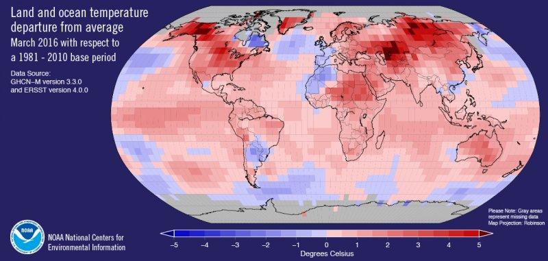 美國國家海洋與大氣總署:全球氣溫連續11個月創同期新高。(NOAA)