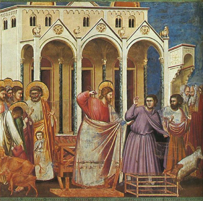 喬托壁畫:銀錢兌換業者被逐出教堂。(作者提供)