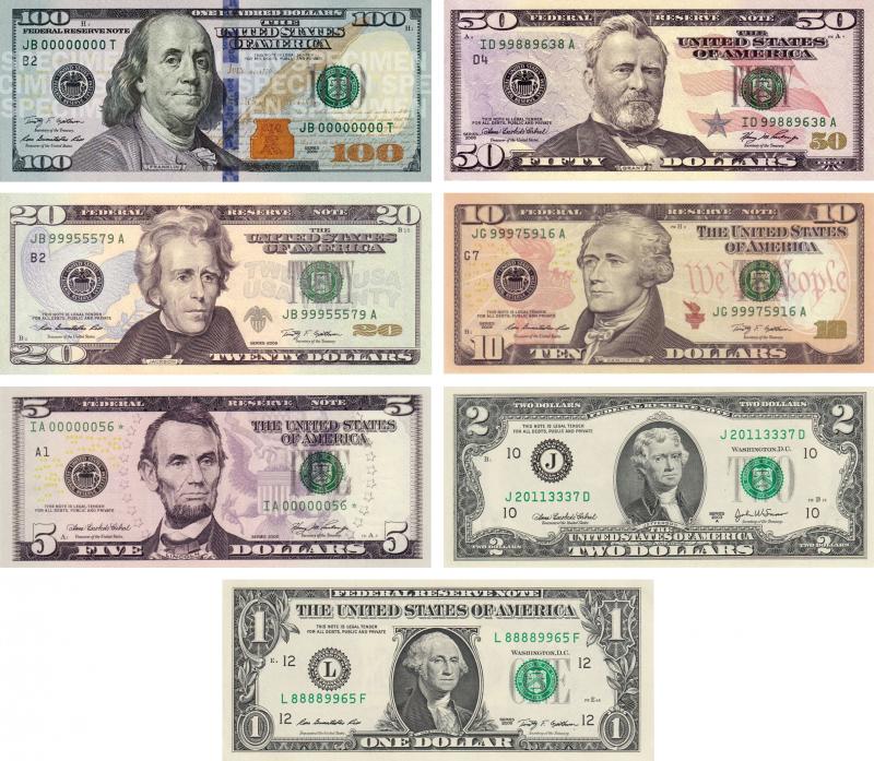 現行美元紙鈔(維基百科)