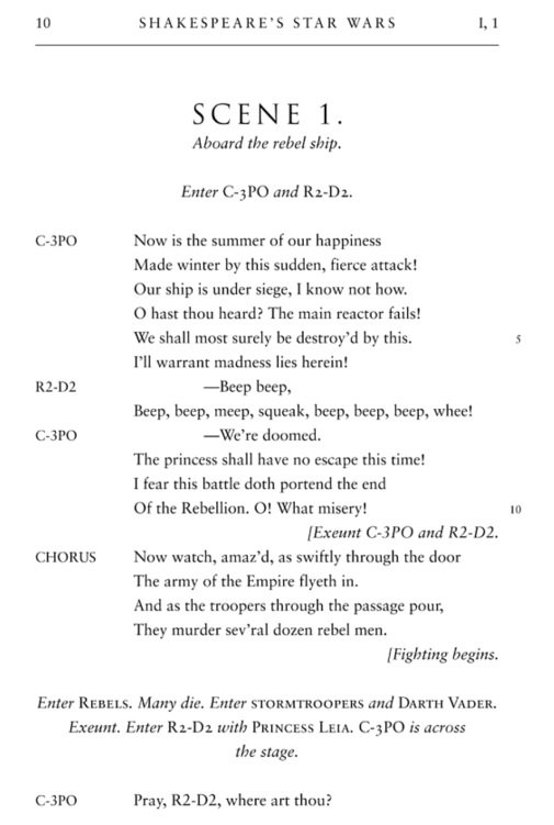《莎士比亞的星際大戰》首部曲內頁(Quirk Books)
