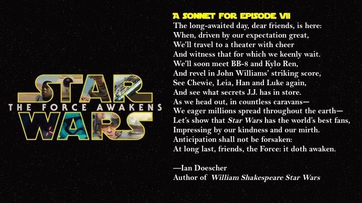 多切爾在《星際大戰》七部曲上映前寫作的十四行詩(取自臉書)