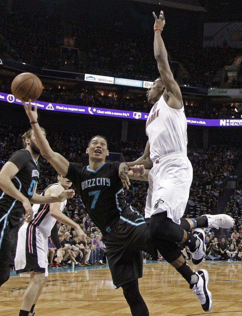 NBA夏洛特黃蜂隊台裔球星林書豪出戰邁阿密熱火隊(美聯社)