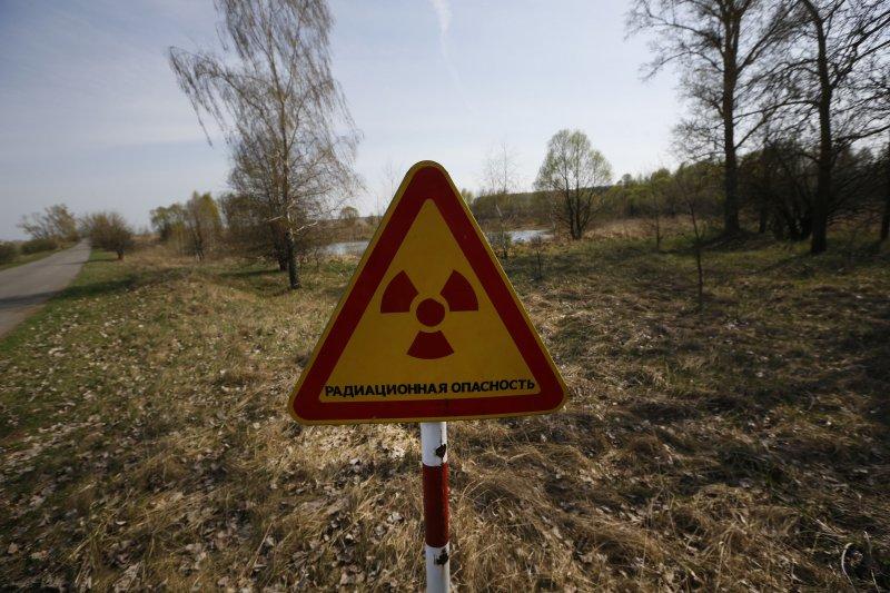 車諾比禁區中的輻射警告牌。(美聯社)