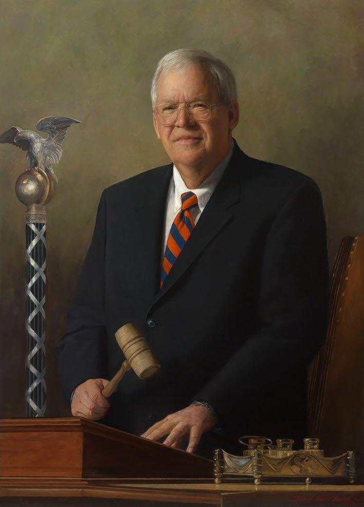 哈斯特(Dennis Hastert)擔任眾院議長時的畫像。(維基百科)