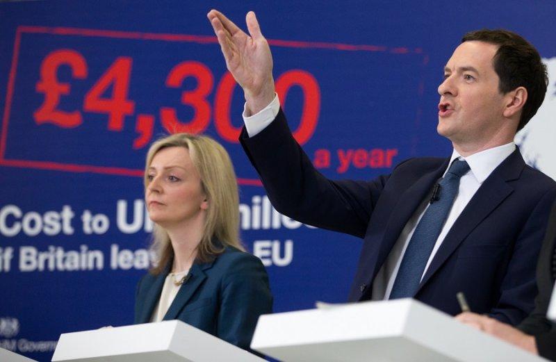 英國財政大臣奧斯本主張脫歐將為英國帶來沉重代價(美聯社)