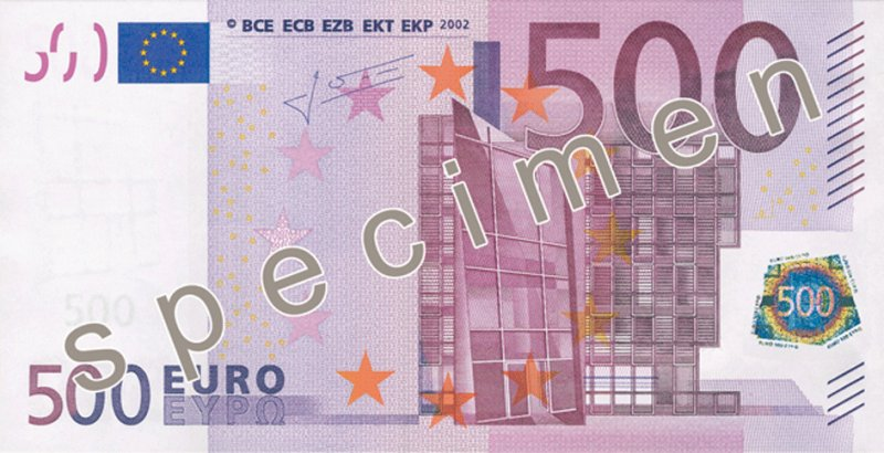 500歐元紙幣將在2018年底停止發行。(維基百科)