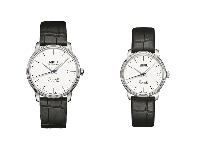 MIDO美度表Baroncelli Heritage永恆系列復刻超薄腕表,圓潤表殼與細致表圈設計靈感來自艾曼紐二世迴廊的穹窿玻璃圓頂。(圖/MIDO提供)