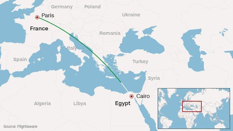 埃及航空班機失聯地點(取自網路)