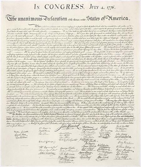 《美國獨立宣言》於1776年7月4日費城批准,此宣言為美國最重要的立國文書之一。