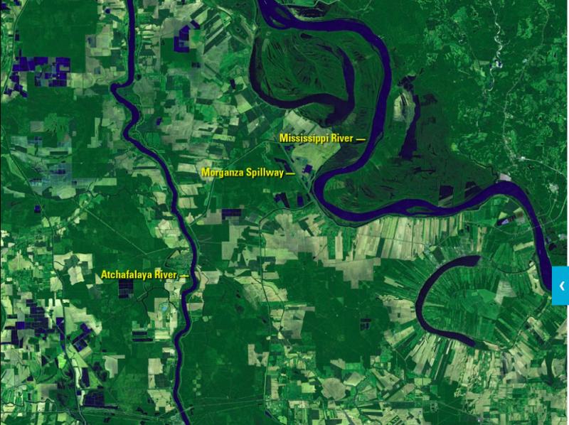 不僅在南北極地區,位於美國的密蘇里河也因為氣候變遷有巨大的變化。(圖/NASA)