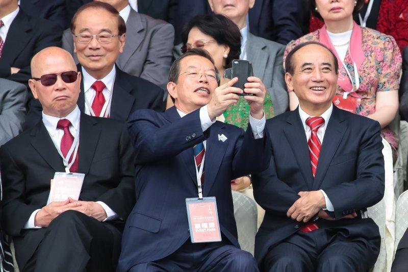 前民進黨主席許信良、前行政院長謝長廷、前立法院長王金平出席第十四任總統、副總統就職慶祝大會。(顏麟宇攝)