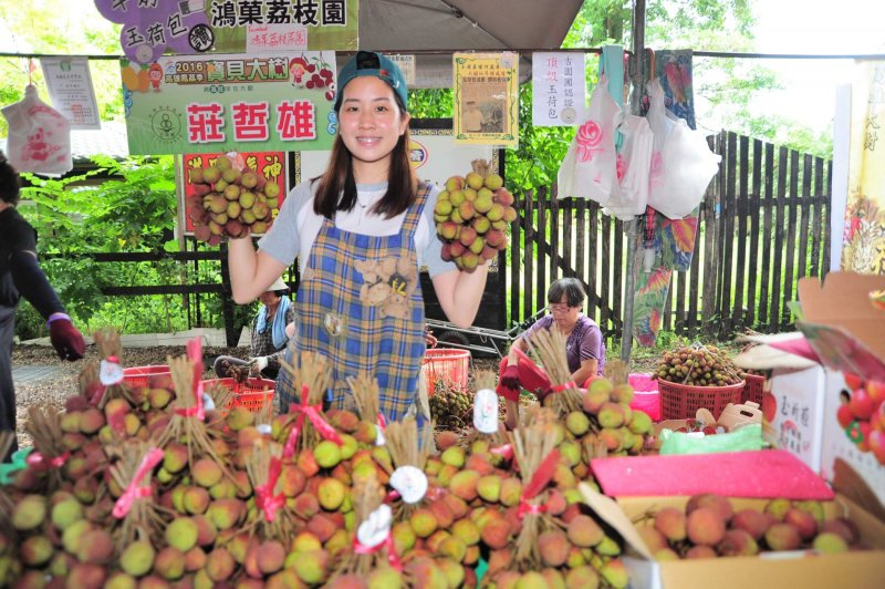 2016高雄鳳荔季9日熱鬧開幕,吸引不少民眾前來採買新鮮農產品。(楊伯祿攝)