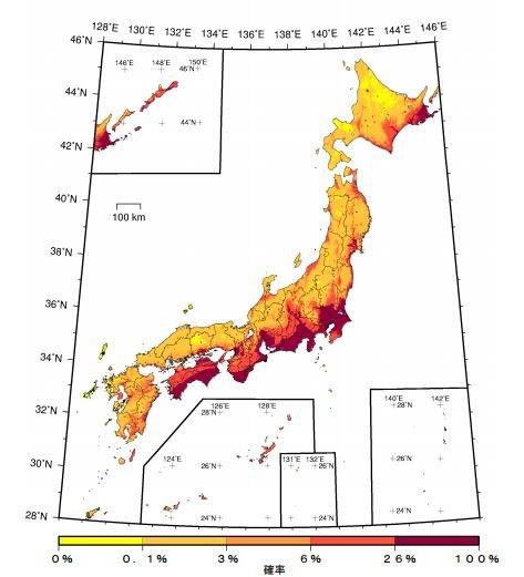 日本各地未來30年可能發生震度6弱以上地震的比率。(取自日本地震調查委員會)