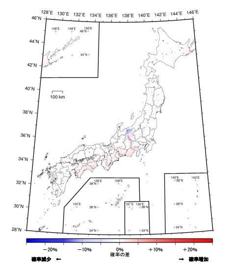 與前次調查相比,日本各地比率多有增加的傾向。(取自日本地震調查委員會)