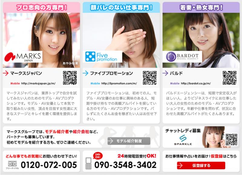 娛樂公司「MarksJapan」招募新人的說明。(翻攝官網)